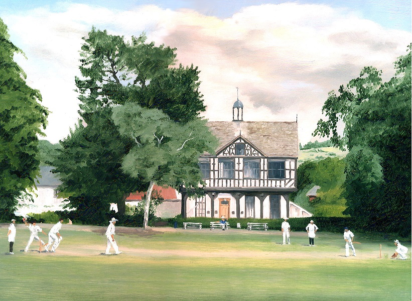 Painting showing Cricket On The Grange Leominster with Grange Court in background