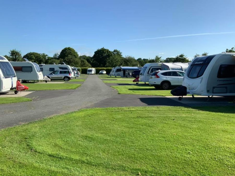 Touring pitches with caravans and cars