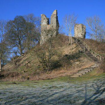 Wigmore Castle in the frost