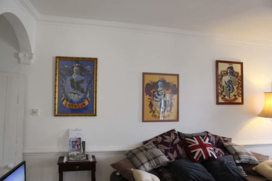 Living Room with Harry Potter artwork on walls
