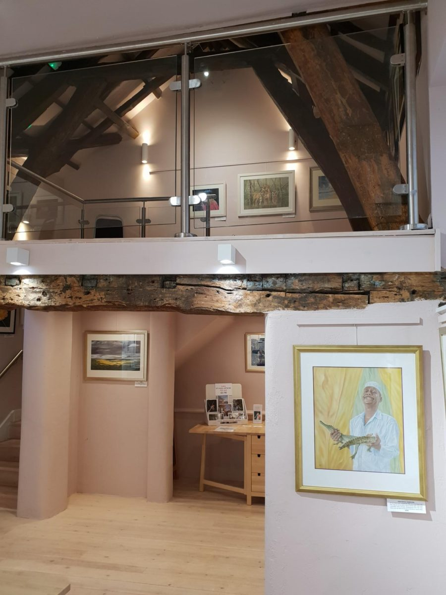 Image showing timber framed gallery with artwork on display