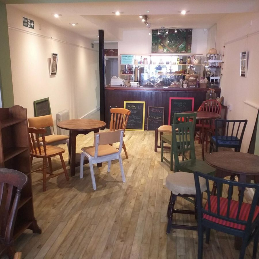 Cafe inside with tables chairs