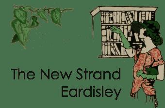Logo of The New Strand Eardisley showing Art deco lady with bookshelf