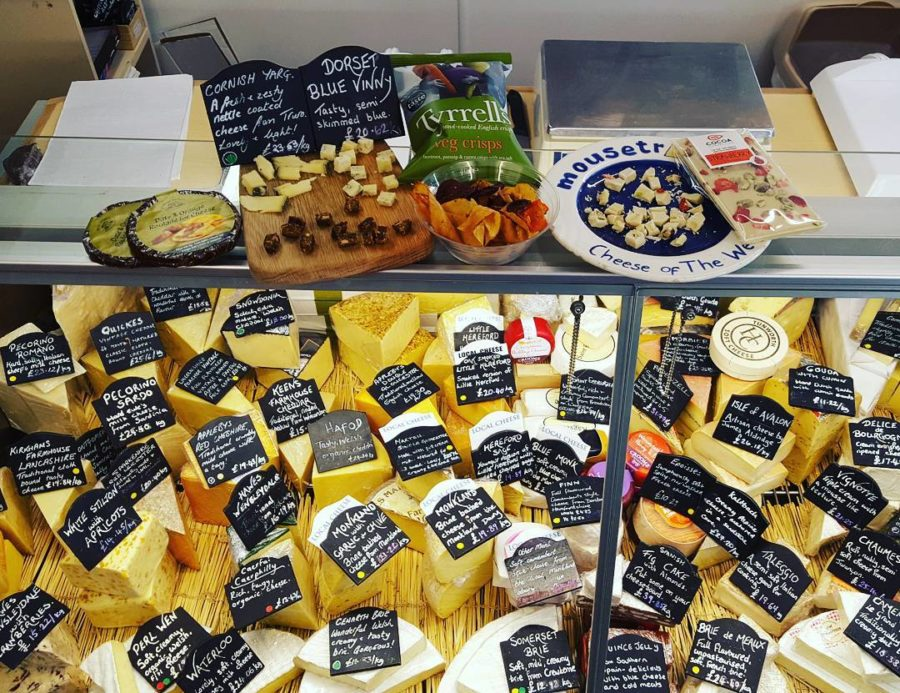 Cheese Display in fridge with black labels