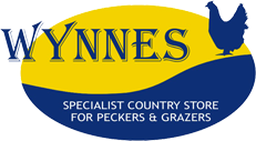 Wynnes Logo blue and yellow with specialist country store for peckers and grazers in white and a blue chicken image
